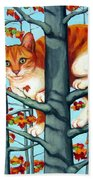 Orange Cat In Tree Autumn Fall Colors Bath Towel