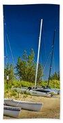 Catamaran Sailboats On The Beach At Muskegon No. 601 Bath Towel