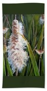 Cattails And Wrens Bath Towel