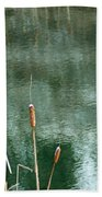 Cattails On Green Bath Towel