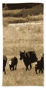 Cattle Round Up Sepia Bath Towel