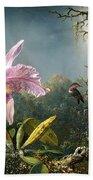 Cattleya Orchid And Three Brazilian Hummingbirds Bath Towel