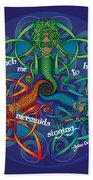Celtic Mermaid Mandala Bath Towel