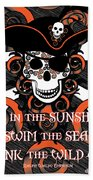 Celtic Spiral Pirate In Orange And Black Hand Towel