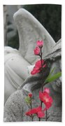 Cemetery Stone Angels And Flowers Bath Towel
