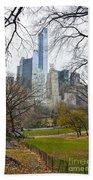 Central Park South Buildings From Central Park Bath Towel