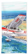 Cessna 206 Flying Over The Outer Banks Bath Towel