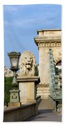 Chain Bridge In Budapest Bath Towel