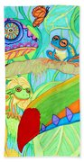 Chameleon And Toucan Bath Towel