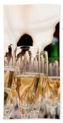 Champagne Glasses At The Party Bath Towel