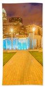 Charlotte City Skyline At Night Bath Towel