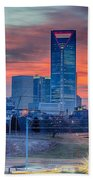 Charlotte The Queen City Skyline At Sunrise Bath Towel