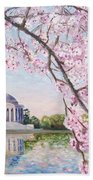 Jefferson Memorial Cherry Blossoms Bath Towel