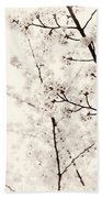 Cherry Tree Blossom Artistic Closeup Sepia Toned Bath Towel