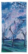 Cherry Trees Impressionism Bath Towel