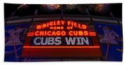 Chicago Cubs Win Fireworks Night Bath Towel