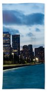 Chicago Lake Front At Blue Hour Bath Towel