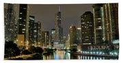 Chicago Night River View Bath Towel