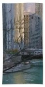 Chicago River Sunset Hand Towel