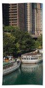 Chicago River Tour Boats Bath Towel