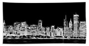 Chicago Skyline Fractal Black And White Bath Towel