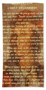 Chief Tecumseh Poem Bath Towel