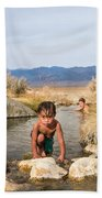 Child And Mother Playing In Hot Springs Bath Towel