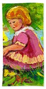 Children's Art - Little Girl With Puppy - Paintings For Children Bath Towel
