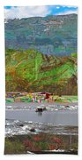 Chinese Landscape Abstract Graphic River Snow Peak Mountain Picnic Spot Skiing Raft Boat Bath Towel