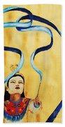 Chinese Ribbon Dancer  Blue Ribbon Bath Towel
