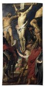 Christ On The Cross Between The Two Thieves Bath Towel