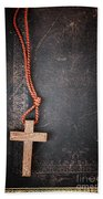 Christian Cross On Bible Bath Towel
