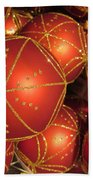 Christmas Balls In Red And Gold Bath Towel