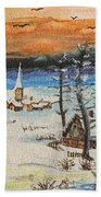 Christmas Card Painting Bath Towel