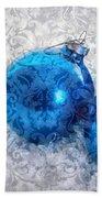 Christmas Card With Vintage Blue Ornaments Bath Towel