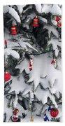 Christmas Decorations On Snowy Tree Hand Towel