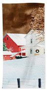 Christmas Farm Bath Towel