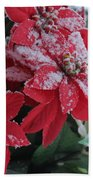Christmas Poinsettia Flowers Bath Towel