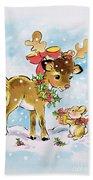 Christmas Reindeer And Rabbit Bath Towel
