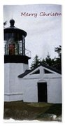 Christmas Time At Cape Meares Lighthouse Bath Towel