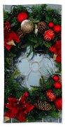 Christmas Wreath Greeting Card Bath Towel