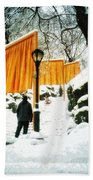 Christo - The Gates - Project For Central Park In Snow Bath Towel