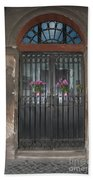 Church Doors And Flowers Bath Towel