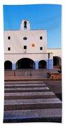 Church In Sant Josep Town On Ibiza Island Bath Towel
