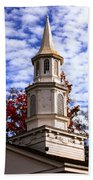 Church Steeple In Autumn Blue Sky Clouds Fine Art Prints As Gift For The Holidays Bath Towel