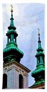 Church Steeples - Bratislava Bath Towel