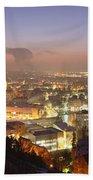 City Lit Up At Night, Esslingen Bath Towel