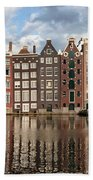 City Of Amsterdam At Sunset In Netherlands Bath Towel