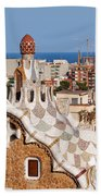 City Of Barcelona From Park Guell Bath Towel