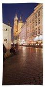 City Of Krakow By Night In Poland Bath Towel